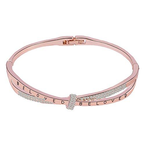 M.DARLY Schmuck wunderschöne Armbänder für Frauen Mädchen Dame Mode Buchstaben Armband, Rose Gold als Geschenk für den Valentinstag und Geburtstag. (Sterling Buchstaben Perlen)