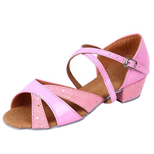 Oasap Open Toe Cross Strap Latin Dance Shoes pink