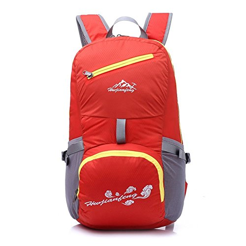 Outdoor Sports Damen Folding Bag Herren leichtes Reise Wandern Reiten Rucksäcke wasserfest tragbar Schule Tasche rot - rot