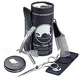 SAVANNA BEARD - Kit et coupe barbier professionnel - Rasoir de rasage droit avec pochette + ciseaux à barbe + peigne à barbe en PU manches cuir + miroir de poche - Coffret cadeau