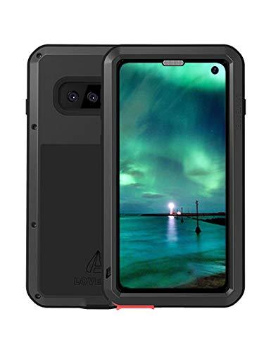 Fonrest Ganzkörper Hülle für Samsung Galaxy S10, Love MEI 6,1-Zoll Schwerlast Hybride Aluminium Metall Stoßfest Schneesicher Staubdicht Case mit Hartglas, Unterstützt Wireless Charging (Schwarz)