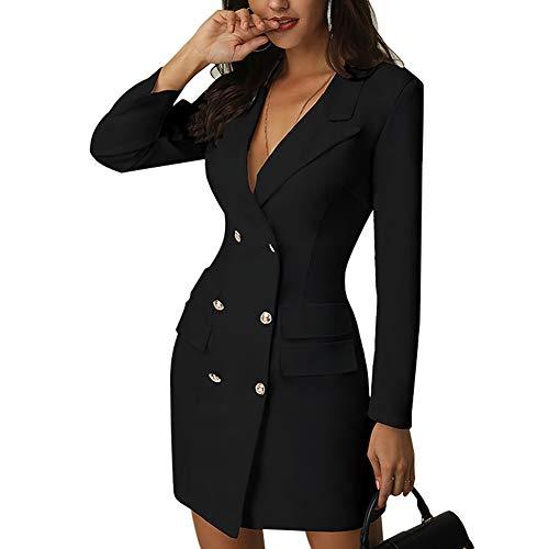 Metyere Ladies Blazer Dress Slim Fit Double Breasted