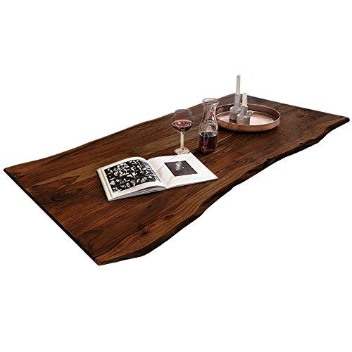 SAM Tischplatte 180x90 cm, Akazie massiv, nussbaumfarben, stilvolle Baumkanten-Platte, pflegeleichtes Unikat