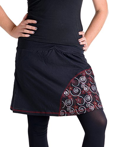 Vishes - Alternative Bekleidung - Mit Spiralen bedruckter und bestickter Baumwollrock schwarz-rot 38 -