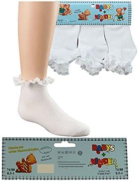 Baby Kinder Mädchen Söckchen 3er Set Rüsche aus Baumwoll -Spitze in weiß