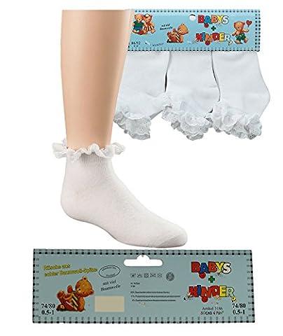 Baby-Mädchen Söckchen 3er set Rüsche aus Baumwoll -Spitze größe 86-92
