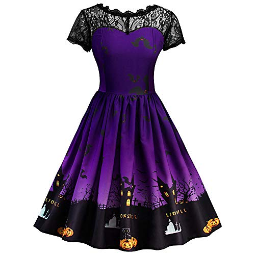 Riou Damen Langarm Halloween Kostüm Top Set Halloween Kleid Damen lang Frauen Kurzarm Halloween Retro Lace Vintage Kleid gruselig Eine Linie Kürbis Swing Partykleid Schwarz Dress (3XL, Lila B)