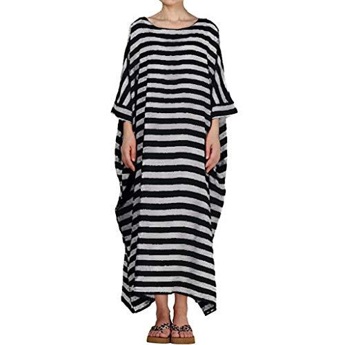 Maxi-Kleid für Frauen Gestreifte Lange Kleider Lässig Lose Kaftan Übergroßen Rundhals Langarm Sommerkleid Bodenlangen Baumwolle Leinen Sommerkleid für Damen Plus Größe S-5XL