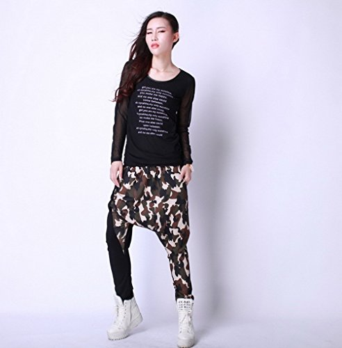 ACME - Femme Baggy Sarouel Hippie Pantalon Jazz Hip hop Jogger Danse Harem pants Sport pants Trousers Taille Unique Marron 2