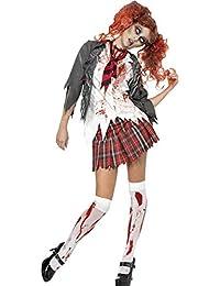 Smiffys, Damen Zombie-Schulmädchen Kostüm, Jacke mit angesetztem Hemd, Schlips und Rock, Größe: L, 32929
