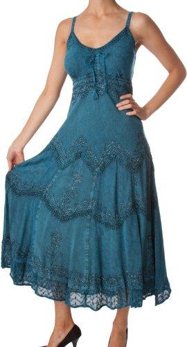 Sakkas Stonewashed Rayon brodée bretelles réglables Robe longue bleu acier