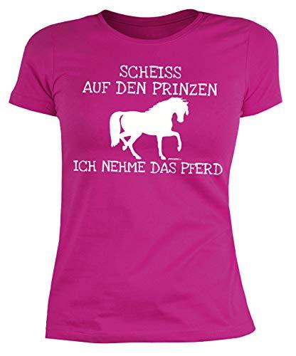 Reiterinnen Single Sprüche - Motiv Damen-Shirt : Scheiss auf den Prinzen ich nehme das Pferd - Pferde-Motiv - Reiterinnen T-Shirt Frau - Mädchen Gr: M