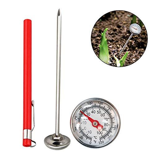 Smart Choice Edelstahl-Erdthermometer, 127 mm Stiel, leicht ablesbar, 27 mm Zifferblatt, 0-100 Grad Fahrenheit Temperatur-Thermometer für Erde, Kompost, Gartenerde