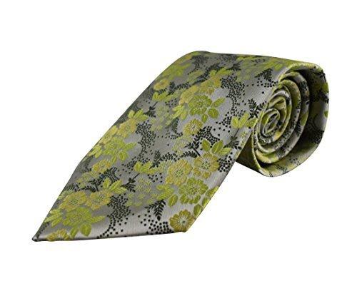 Para hombre corbata de seda Flores Luz Verde Sombra boda corbata
