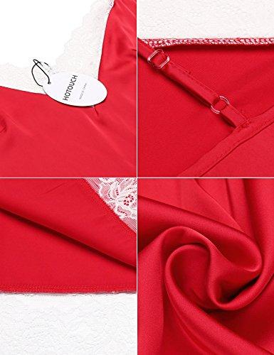 HOTOUCH Damen Satin Nachthemd Nachtkleid Spitze Dessous Sleepwear Mit Verstellbarem Schultergurt Typ1-Rot