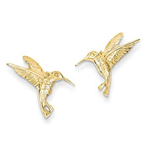 14k Gelb Gold Kolibri Bereitstellen Ohrringe