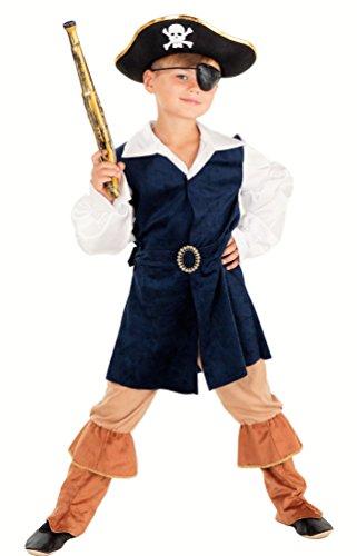 Magicoo Deluxe Karibischer Pirat - Piraten Kostüm Kinder Gr. 104 bis 140 - Piratenkostüm Seeräuber Kinder Jungen - Deluxe Pirat Kind Kostüm