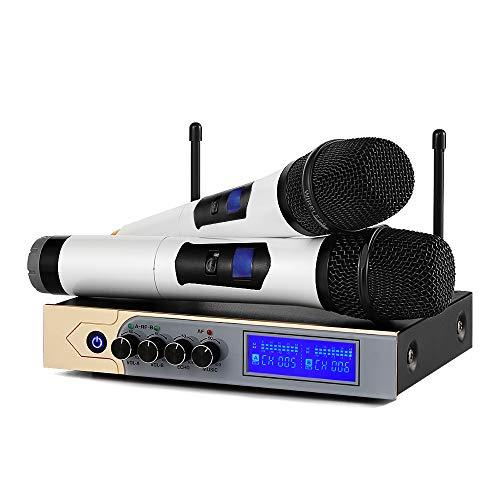 Micrófonos Inalámbricos Karaoke UHF,Micrófono Bluetooth 4.1 con Dual Canal, UHF Receptor Dos Micrófonos de Mano,Equipo de Karaoke Sistema con Dos Cables para Bar,Fiestas,Conferencia