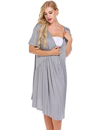 Damen Casual Umstandsnachthemd Stillkleid Lagendesign Umstandskleid Mutterschafts Kleid Baumwolle Umstandsmode Schwangerschafts Kleid Kurzarmes Nachthemd Grau