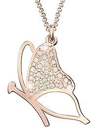 Principio® - Collier avec Pendentif Papillon pour Femme Argent Plaqué en Or  Rose 925 avec Zircone - Fabriqué en… 4315d8807f0b