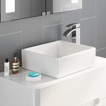 iBathUK Modern Square Ceramic Cloakroom Basin Countertop Bathroom Sink  CA1000