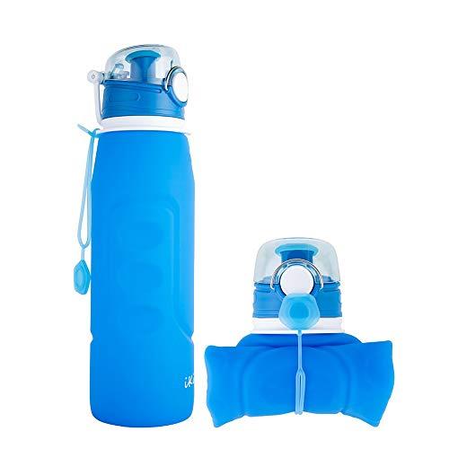 iKiKin Faltbare Wasserflasche, Silikon Faltbare Trinkflasche, 1000ml FDA-Zugelassen, BPA frei, Lecksichere Faltbare Sportflasche für Sport, Outdoor, Reisen, Camping (Blau)