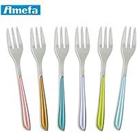 Amefa Eclat–Metallics Juego de 6para tartas tenedores de postre