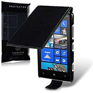 Nokia Lumia 820 Premium PU Leather Flip Case / Cover / Pouch / Holster - Black