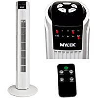MYLEK Remote Control Oscillating Tower Fan With Timer (Black and White, 31 Inch)