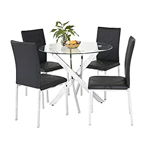 new chrom rund glas esstisch mit 4 schwarz kunstleder esszimmerstuhl st hle set schwarz. Black Bedroom Furniture Sets. Home Design Ideas