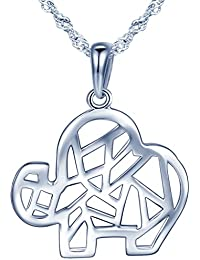 yumilok joyas plata de ley 925Lovely artística elefante colgante collar para las mujeres/niñas