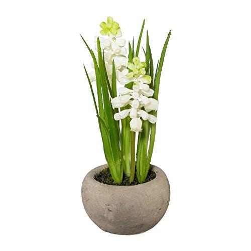 Kunstpflanze MUSCARI im Zementtopf. Ca 15 cm. Traubenhyazinthen getopft. Farbe: Creme / WEISS.