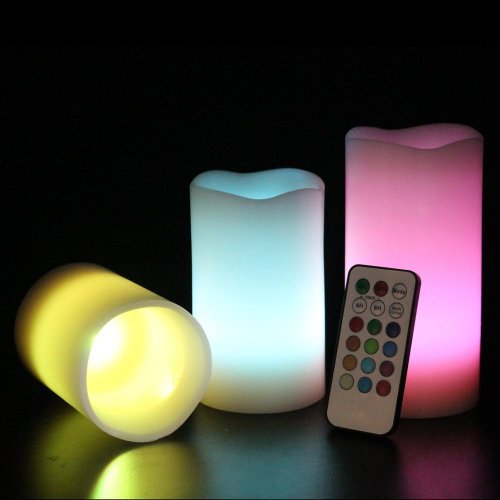 Set di 3 candele LED cambia colore Flamelesss di...