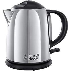 Russell Hobbs Chester 20190-70 - Hervidor de agua compacto, 1l, resistencia oculta, 2200 W, acero inoxidable brillante y negro