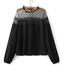 yls de Roll Cuello Camiseta Western costuras Black Lace durchschauen Roll Cuello Camiseta para chalecos, l, Black