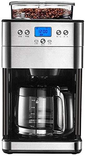 TEHWDE Filterkaffee Espresso-Kombinationsmaschinen Vollautomatische Mahlbohnen 1.8L, Filterkaffeemaschine Haushalt, Multifunktionsdose Brühtee, Silber