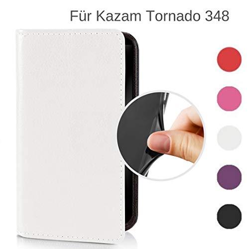 MOKASY Tornado 348 Hülle kompatibel mit Kazam ☑️ Tornado 348 ☑️ unzerbrechliche Schutzhülle Handyhülle aus Silikon mit Magnetverschluss und Fach Cremweiß