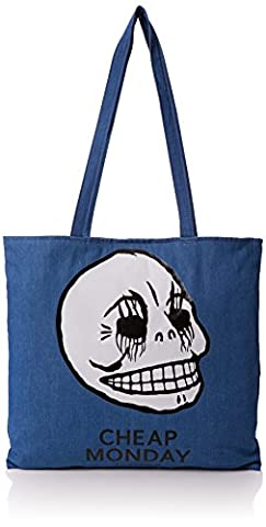Cheap Monday Unisex Adults' Rapid Tote Corpse Canvas and Beach Tote Bag Blue (Rinsed blue)