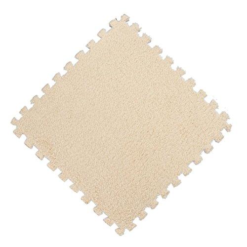 Plüsch Teppich,Jaminy 25X25CM Kinder Teppich Schaum Puzzle Matte EVA Shaggy Samt Baby Eco Boden 7 farben Fußmatten Teppiche (G)