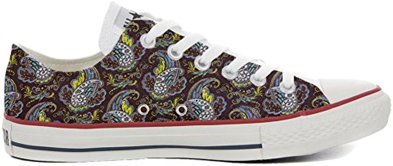 mys Converse All Star Slim Customized Personalisiert Schuhe Unisex (Gedruckte Schuhe) Brown Paisley