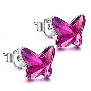 ANGEL NINA Geschenk für Frauen Weihnachten Schmetterling Ohrringe, 925 Sterling Silber Ohrringe, Swarovski Kristall, Einzigartige Philosophie der Ästhetik, Schmuck geschenkbox verpackung