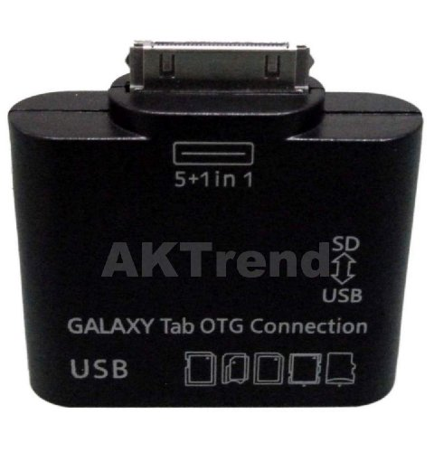 AKTrend® - OTG USB KARTENLESER HOST FÜR SAMSUNG GALAXY TAB 2 10.1 GT P3110 P3112 P1000 P5100 , 5 in 1 USB OTG Host Connection Kit Kartenleser Card Reader für Samsung Galaxy Tab 10.1 , 8.9 , 7.7 , P5100 , P5110 , P511 , P7500 , P7100 , P7300 , P7510 , P6800 , Unterstützt MS , SD , SDHC , MMC , MMC2 , RS-MMC , SD ULTRA2 , EXTREME SD , TF Für Galaxy Note 10.1 GT-N8000, GT-N8010, LTE GT-N8020, Galaxy Tab 7.0 GT-P3113, etc.