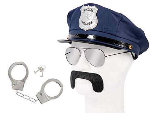 Set di Travestimento da Poliziotto | Blu | KV-134 | 4 Pezzi | Cappello, Occhiali da Sole, Baffi, Manette con Chiavi | per Carnevale | Halloween | Festa a Tema | Adulti | Uomo | Donna