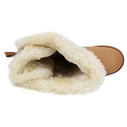Damen Winterstiefel Warm Gefütterte Stiefel Strass Winter Boots Schnee Schuhe Winterschuhe Profilsohle Snowboots Flandell Hellbraun Schnalle
