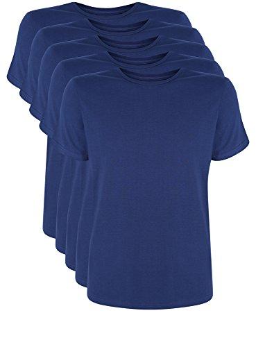 oodji Ultra Herren T-Shirt Basic (5er-Pack) Blau (7900N)