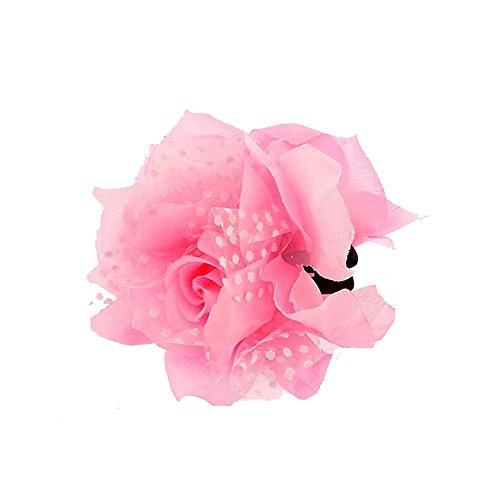 Pince Crabe A Cheveux - Plastique et Textile, Tulle - Fleur Rose - 12 cm - Accessoire Coiffure