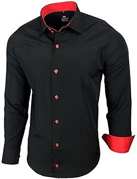 Camicia da uomo per business, matrimonio, tempo libero, taglio aderente–S M L XL XXL, R-44 nero/rosso XXXXXL