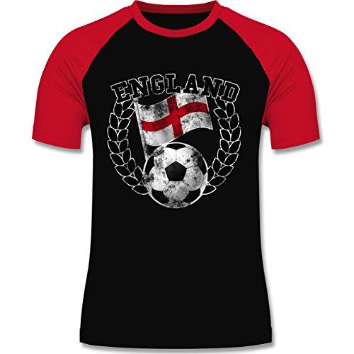 EM 2016 - Frankreich - England Flagge & Fußball Vintage - zweifarbiges Baseballshirt für Männer Schwarz/Rot