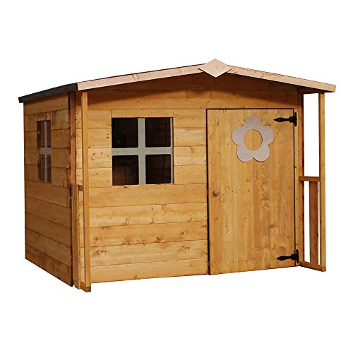 WALTONS EST. 1878 5x5 Wooden Garden Playhouse for kids. Tongue & Groove Construction, dip treated with 10 year Anti Rot Guarantee - Includes Apex Roof, Felt and Floor, Safety Styrene Windows (5 x 5 / 5Ft x 5Ft) 3-5 Day Delivery