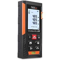 Tacklife HD 40m Telémetro láser con rango distancia de medida 0,05~40m /±1,5mm, pantalla retroiluminada LCD con 2burbujas de nivel Medidor Láser con función silencio y rápida medición
